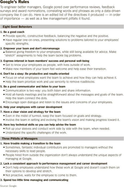 8 характеристик  хороших менеджеров Google